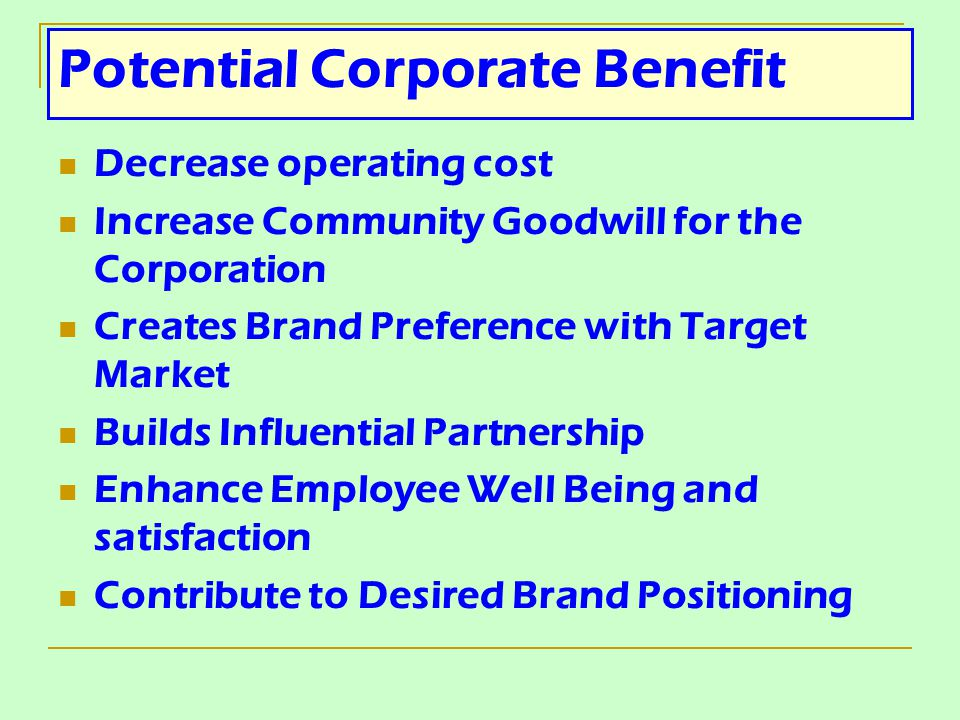 Potential Corporate Benefit