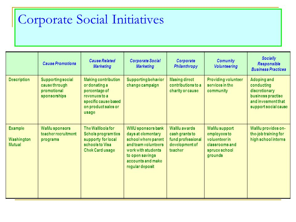 Corporate Social Initiatives