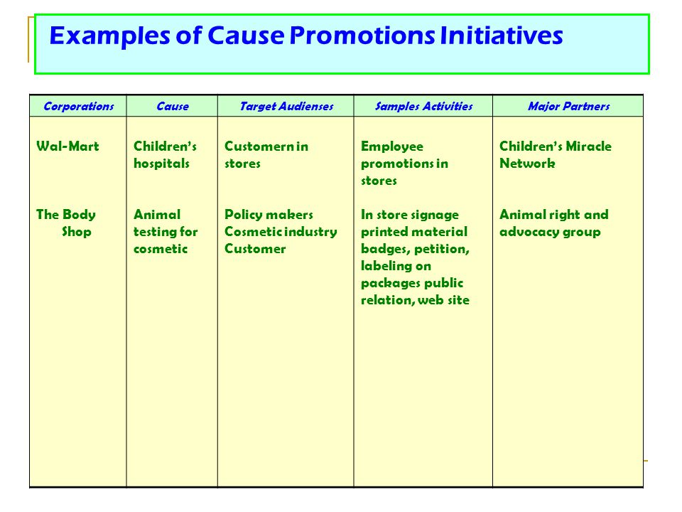 Examples of Cause Promotions Initiatives