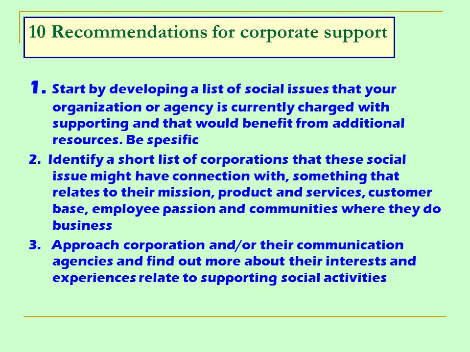 10 Recommendations for corporate support
