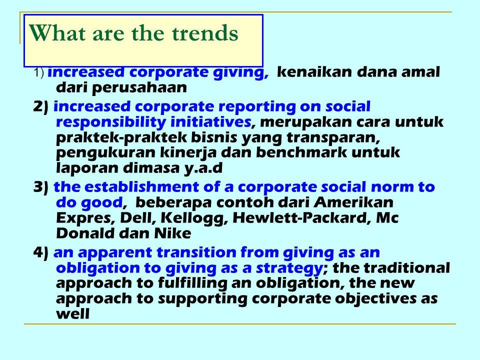 What are the trends 1) increased corporate giving, kenaikan dana amal dari perusahaan.