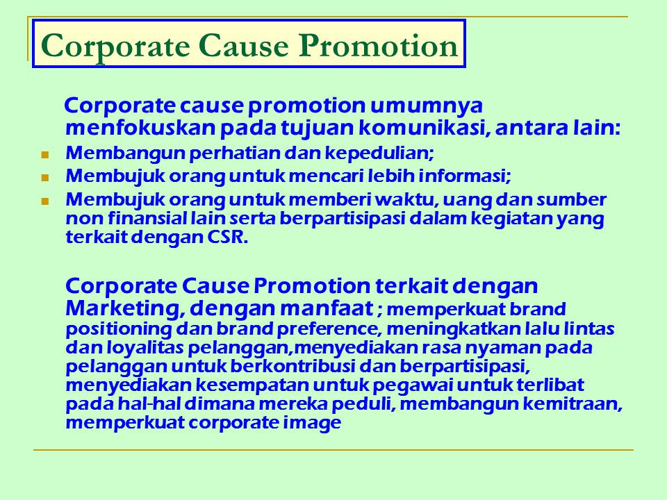 Corporate Cause Promotion