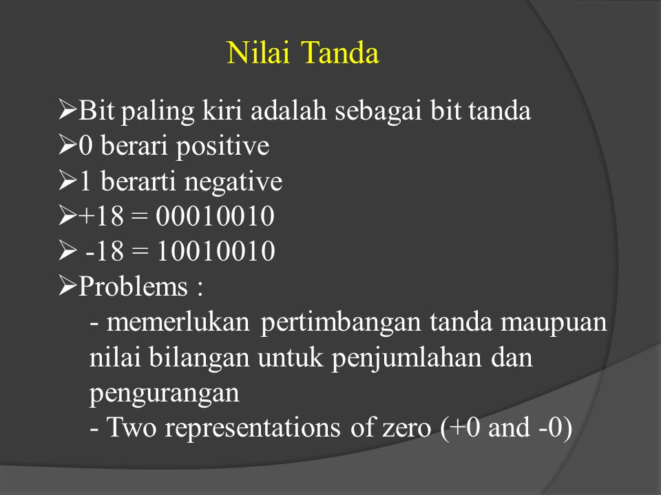 Nilai Tanda Bit paling kiri adalah sebagai bit tanda 0 berari positive