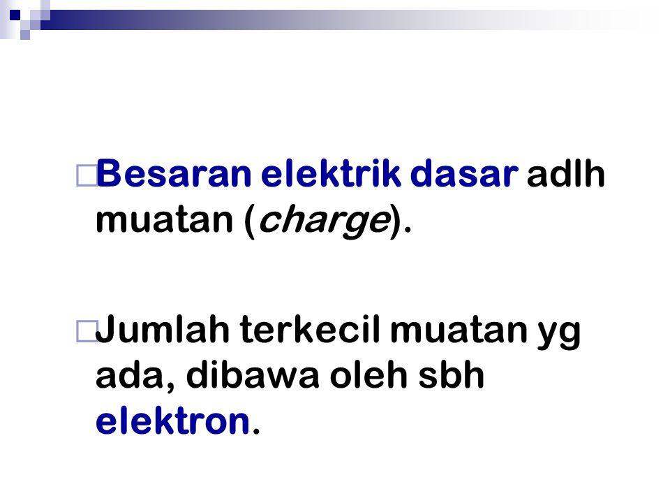 Besaran elektrik dasar adlh muatan (charge).