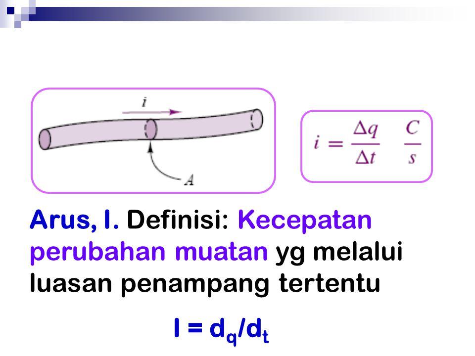 Arus, I. Definisi: Kecepatan perubahan muatan yg melalui luasan penampang tertentu