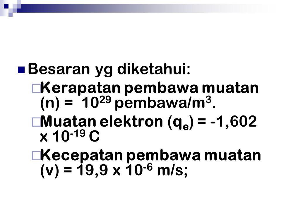 Besaran yg diketahui: Kerapatan pembawa muatan (n) = 1029 pembawa/m3. Muatan elektron (qe) = -1,602 x 10-19 C.