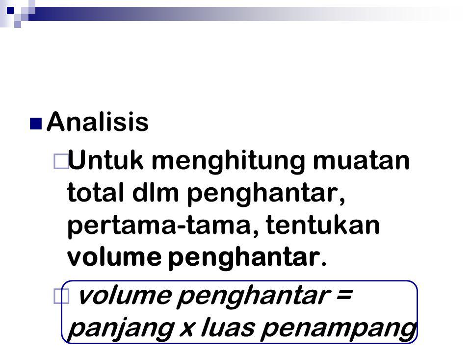 Analisis Untuk menghitung muatan total dlm penghantar, pertama-tama, tentukan volume penghantar.