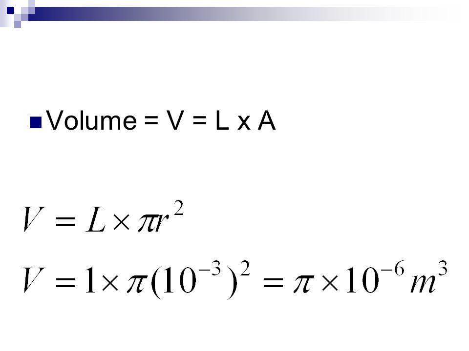 Volume = V = L x A