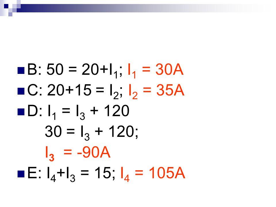 B: 50 = 20+I1; I1 = 30A C: 20+15 = I2; I2 = 35A. D: I1 = I3 + 120.