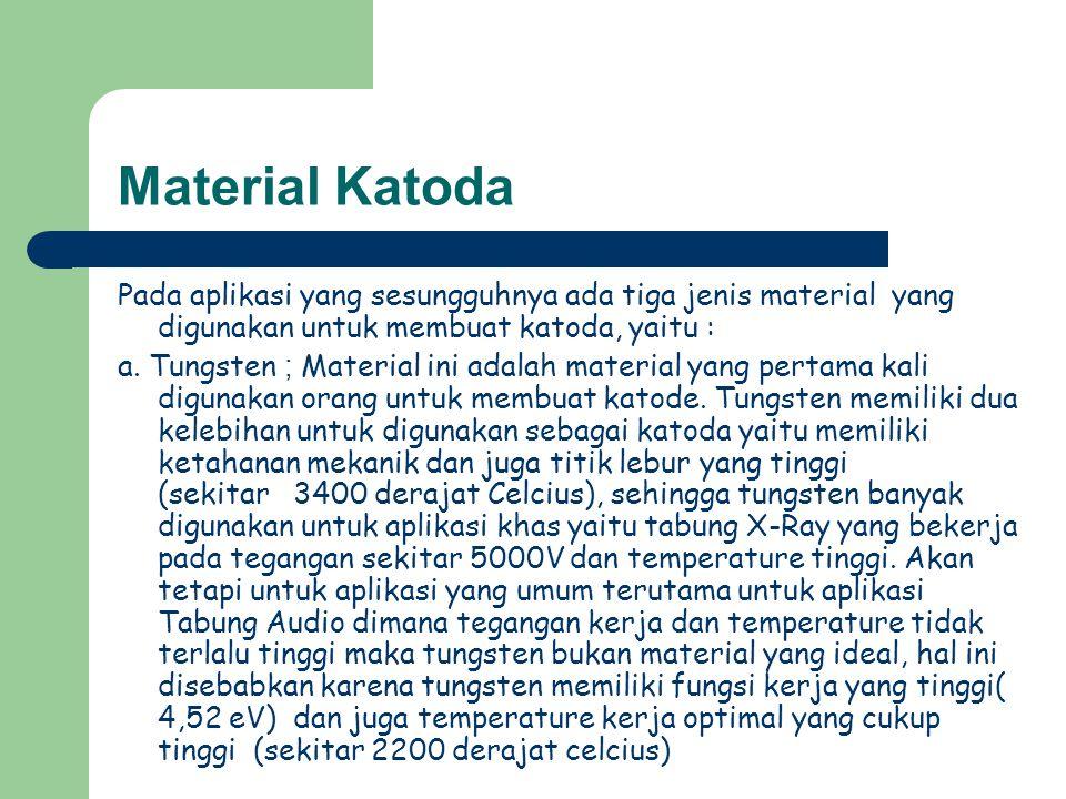 Material Katoda Pada aplikasi yang sesungguhnya ada tiga jenis material yang digunakan untuk membuat katoda, yaitu :