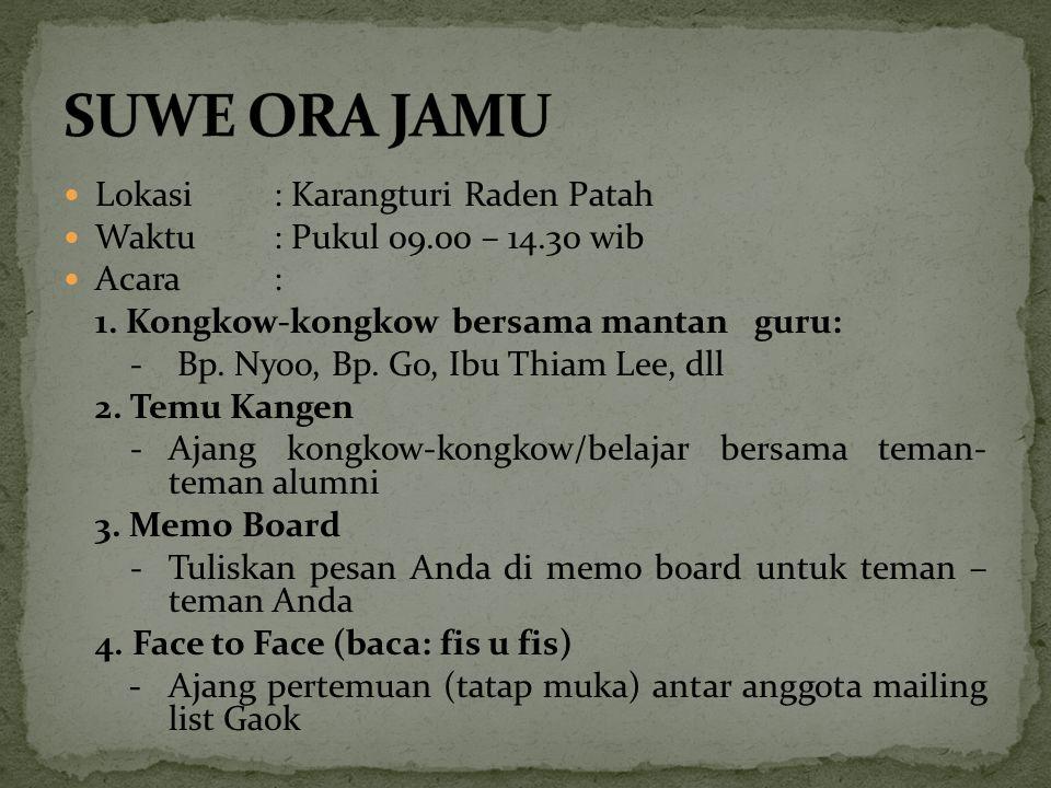 SUWE ORA JAMU Lokasi : Karangturi Raden Patah