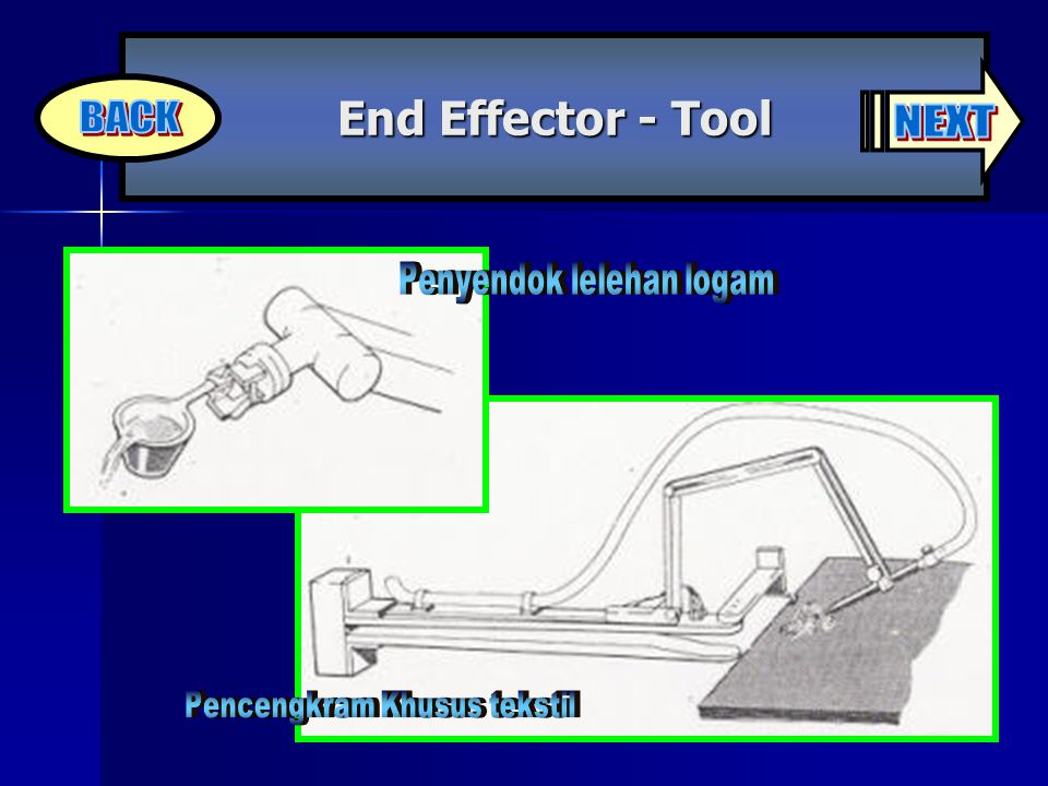 BACK NEXT End Effector - Tool Penyendok lelehan logam
