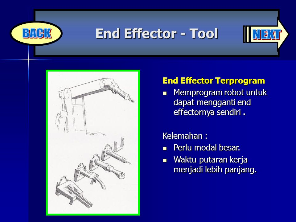 BACK NEXT End Effector - Tool End Effector Terprogram