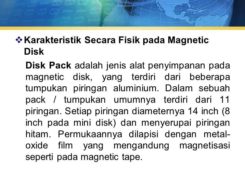 Karakteristik Secara Fisik pada Magnetic Disk