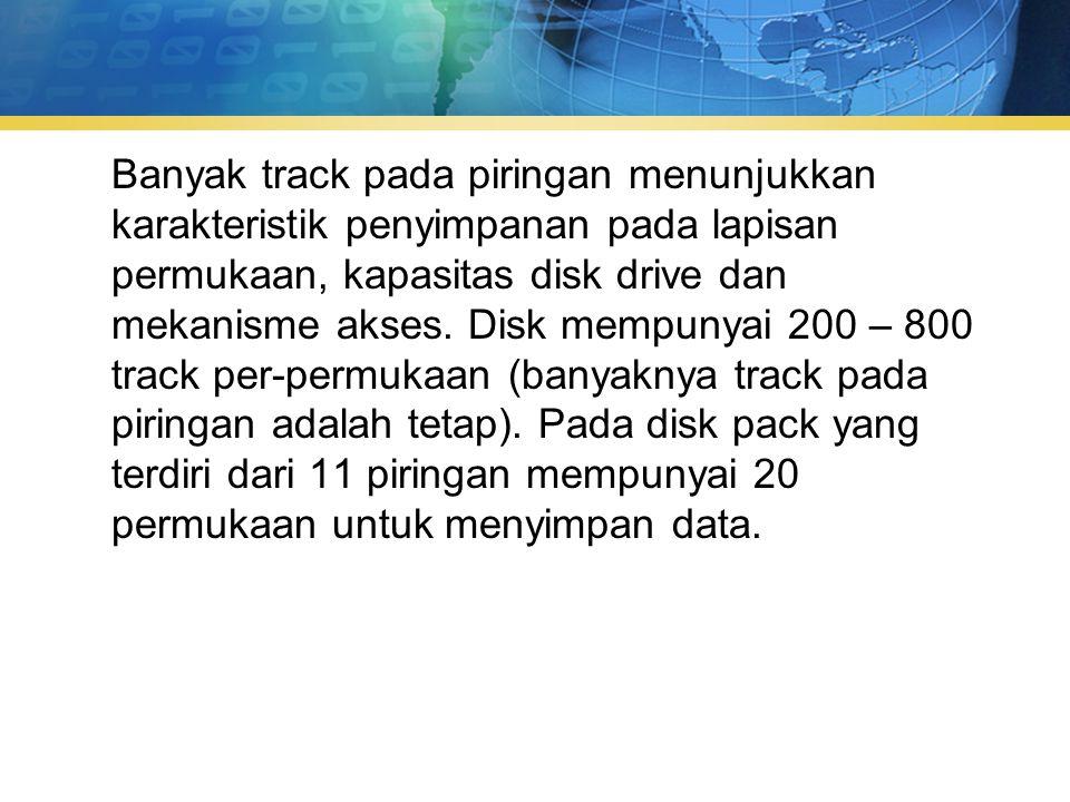 Banyak track pada piringan menunjukkan karakteristik penyimpanan pada lapisan permukaan, kapasitas disk drive dan mekanisme akses.
