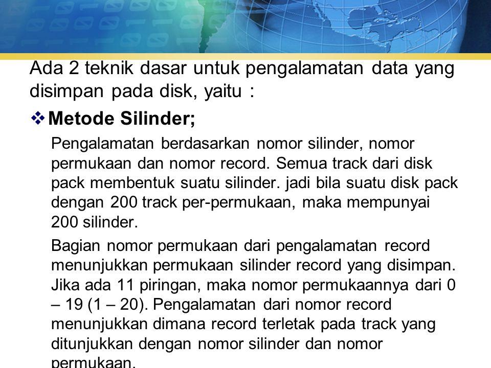 Ada 2 teknik dasar untuk pengalamatan data yang disimpan pada disk, yaitu :