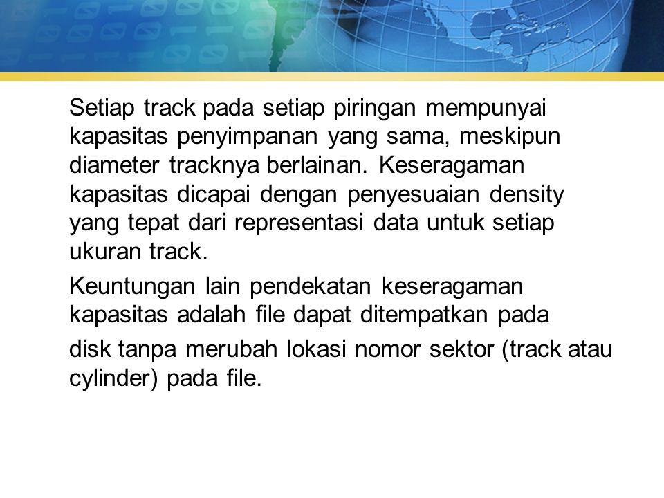 Setiap track pada setiap piringan mempunyai kapasitas penyimpanan yang sama, meskipun diameter tracknya berlainan.