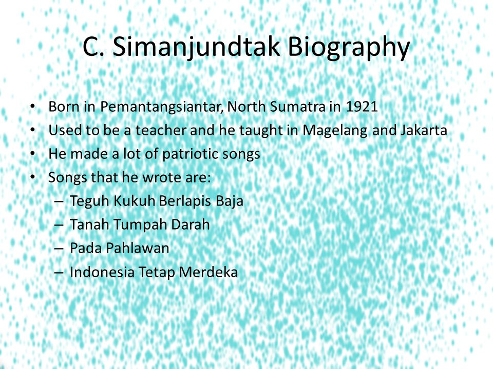 C. Simanjundtak Biography