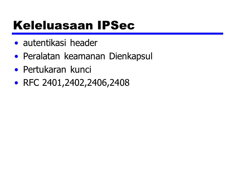 Keleluasaan IPSec autentikasi header Peralatan keamanan Dienkapsul