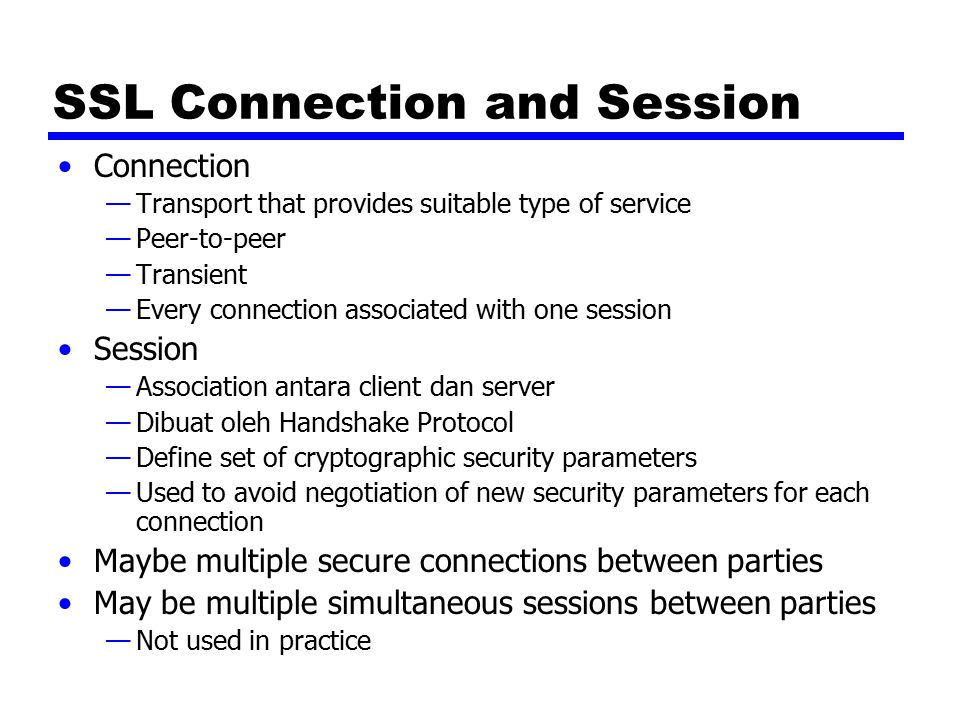 SSL Connection and Session
