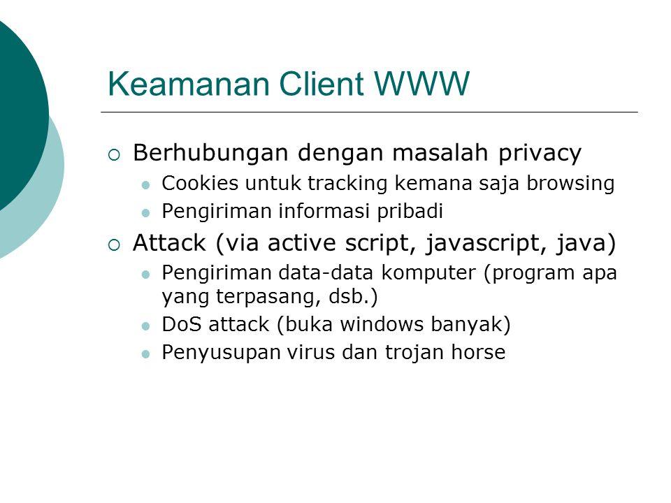 Keamanan Client WWW Berhubungan dengan masalah privacy
