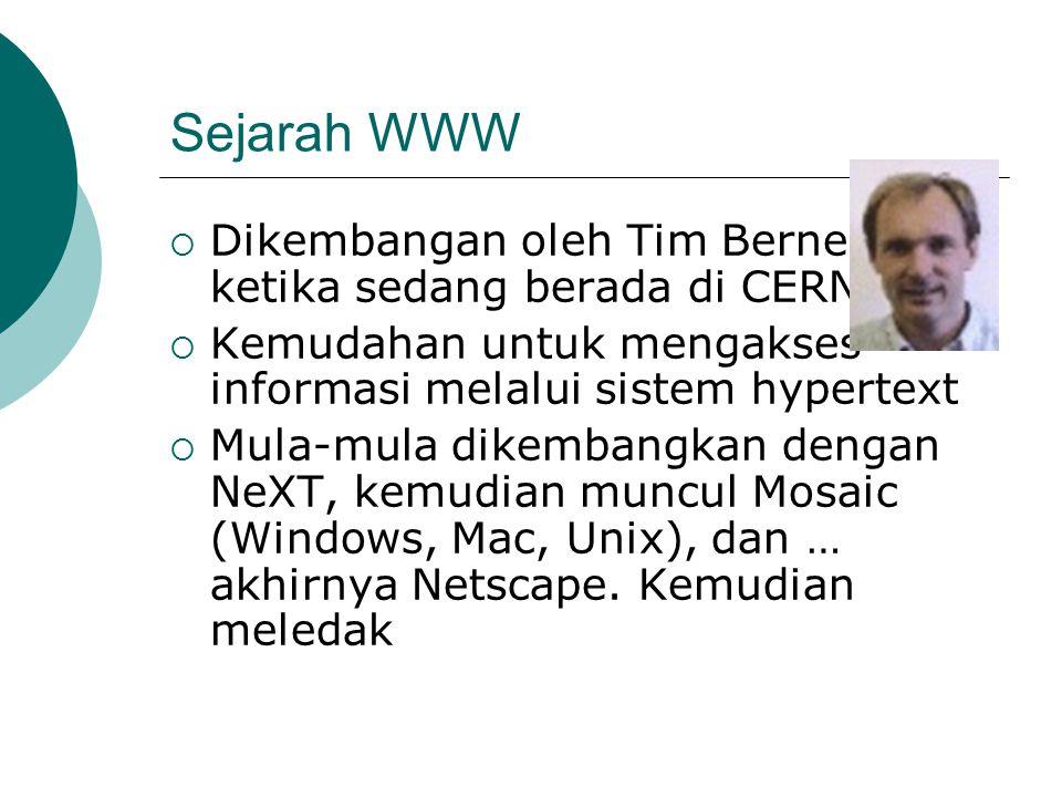 Sejarah WWW Dikembangan oleh Tim Berners-Lee ketika sedang berada di CERN. Kemudahan untuk mengakses informasi melalui sistem hypertext.