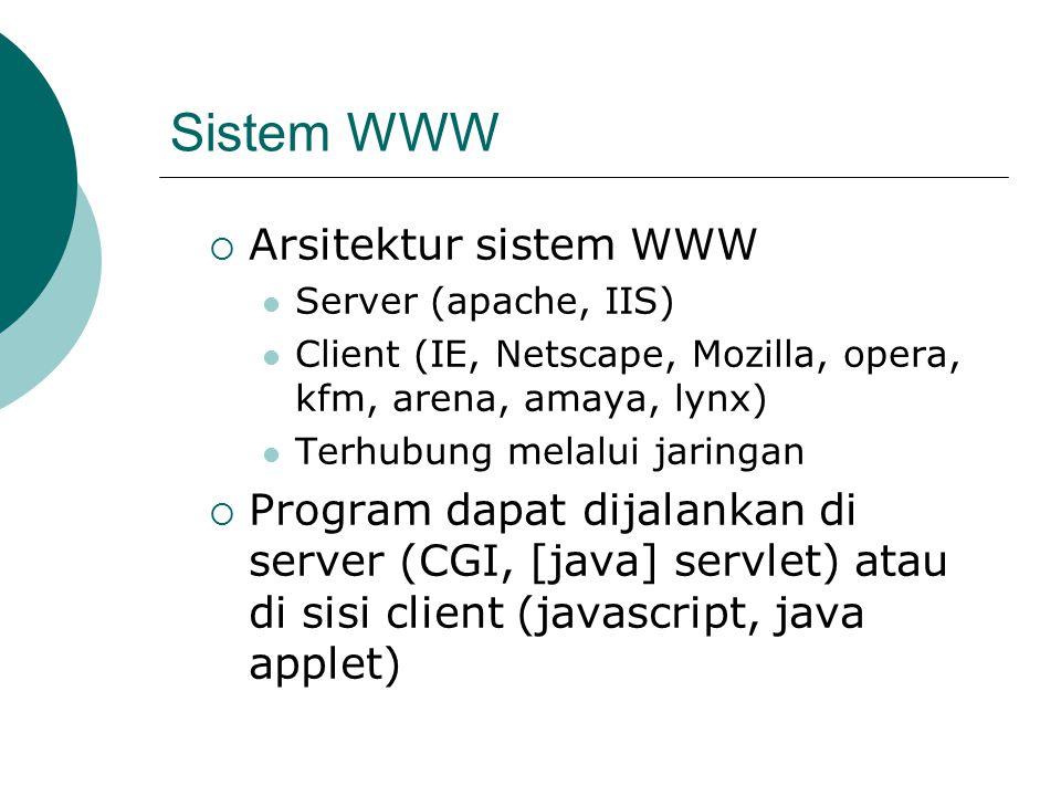 Sistem WWW Arsitektur sistem WWW