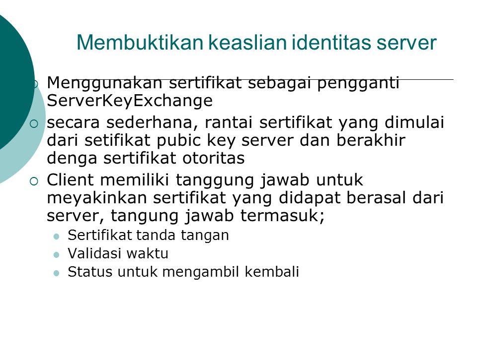 Membuktikan keaslian identitas server