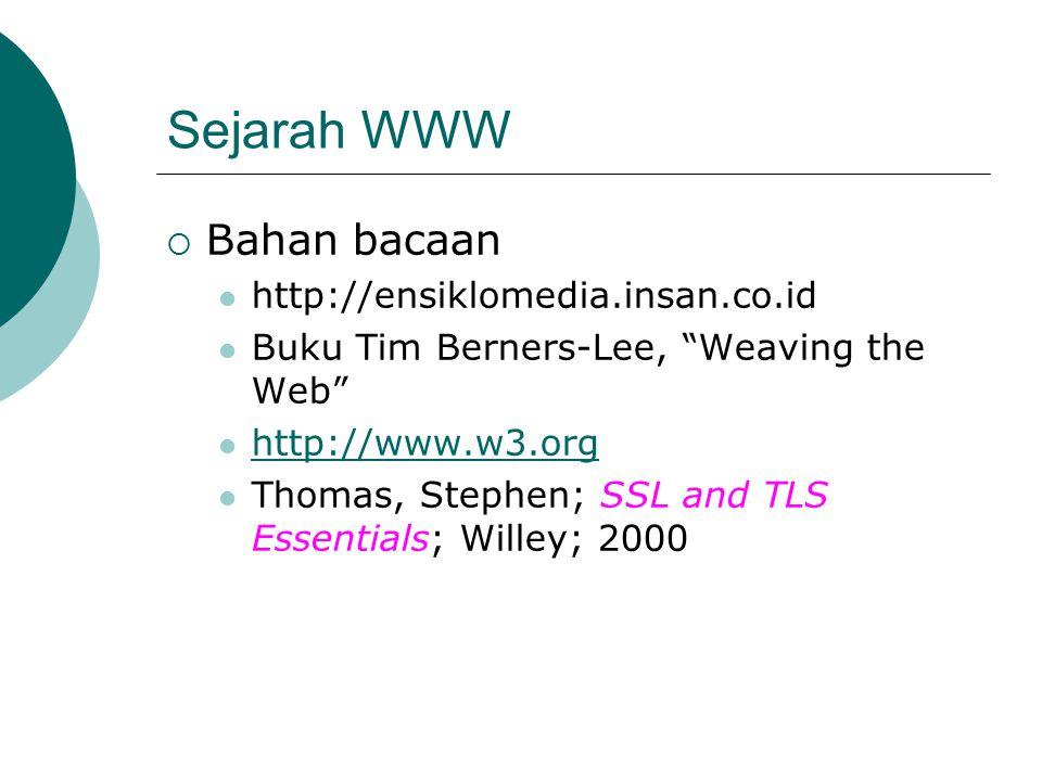 Sejarah WWW Bahan bacaan http://ensiklomedia.insan.co.id