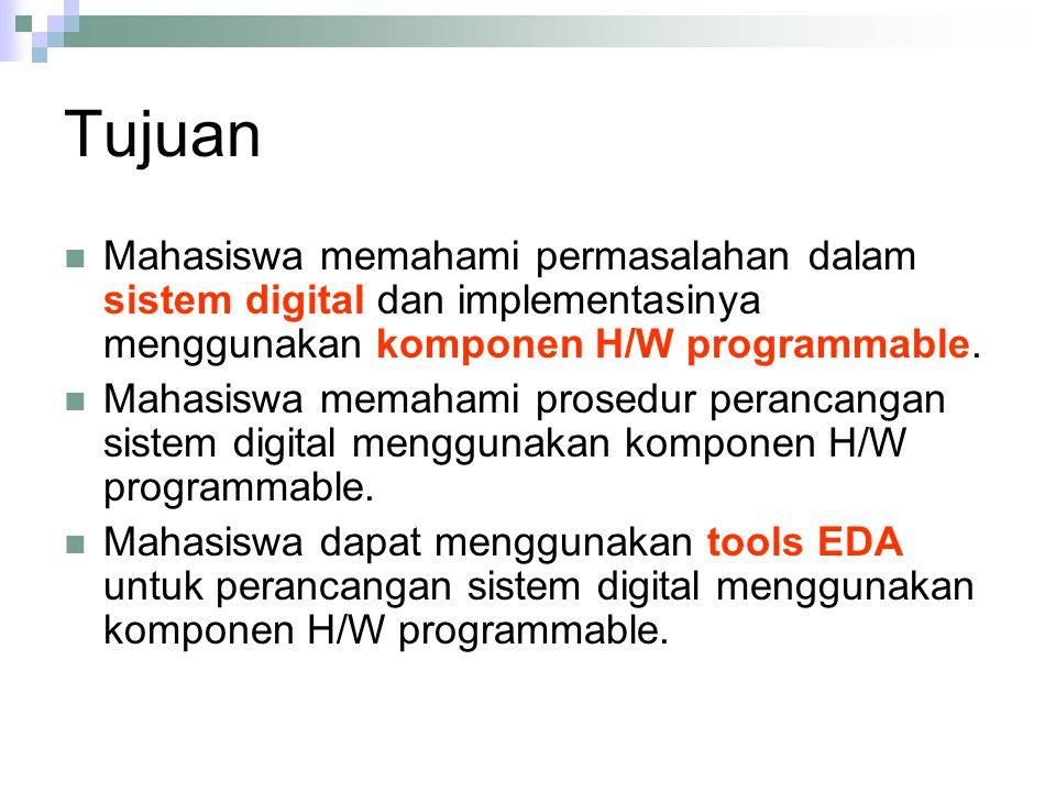Tujuan Mahasiswa memahami permasalahan dalam sistem digital dan implementasinya menggunakan komponen H/W programmable.