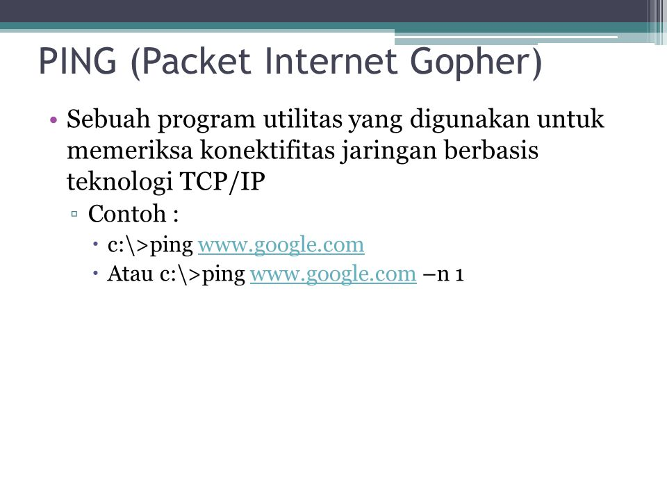 PING (Packet Internet Gopher)