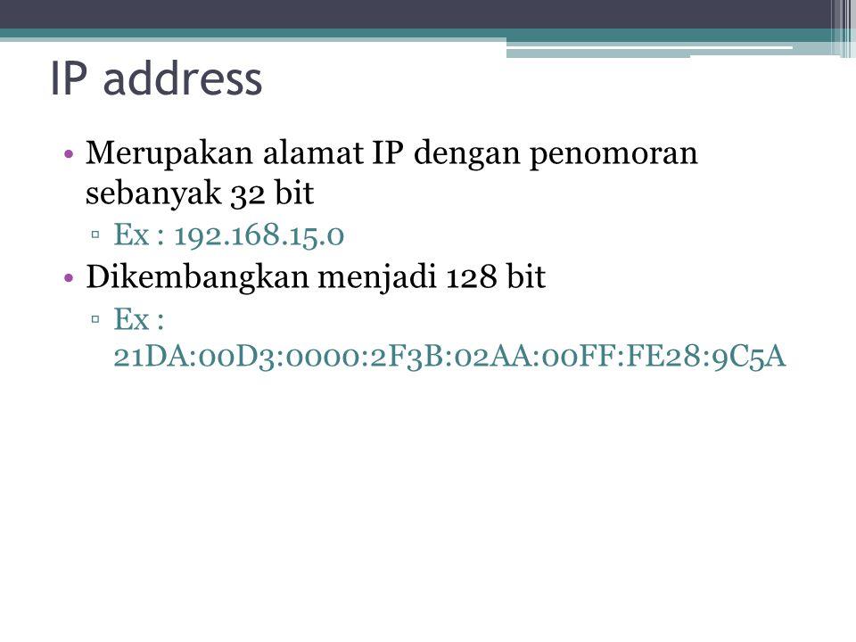 IP address Merupakan alamat IP dengan penomoran sebanyak 32 bit