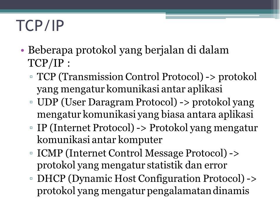 TCP/IP Beberapa protokol yang berjalan di dalam TCP/IP :