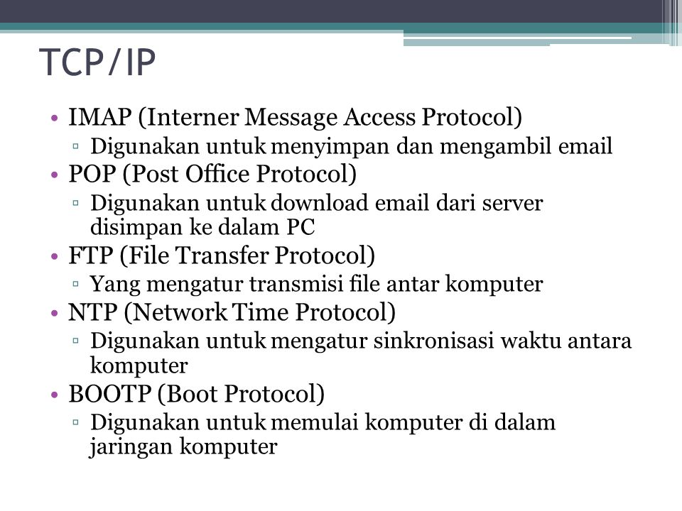 TCP/IP IMAP (Interner Message Access Protocol)