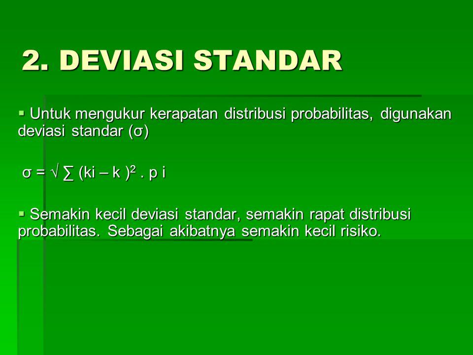 2. DEVIASI STANDAR Untuk mengukur kerapatan distribusi probabilitas, digunakan deviasi standar (σ) σ = √ ∑ (ki – k )2 . p i.