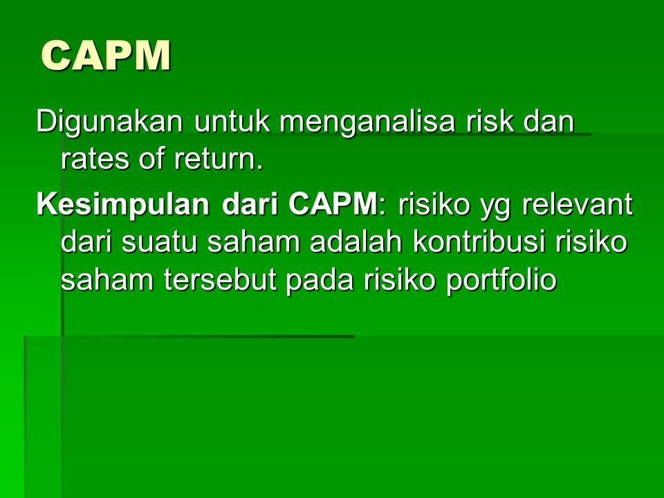CAPM Digunakan untuk menganalisa risk dan rates of return.