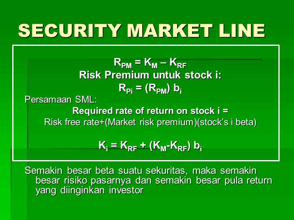 Risk Premium untuk stock i: Required rate of return on stock i =