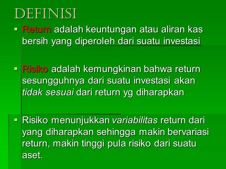DEFINISI Return adalah keuntungan atau aliran kas bersih yang diperoleh dari suatu investasi.