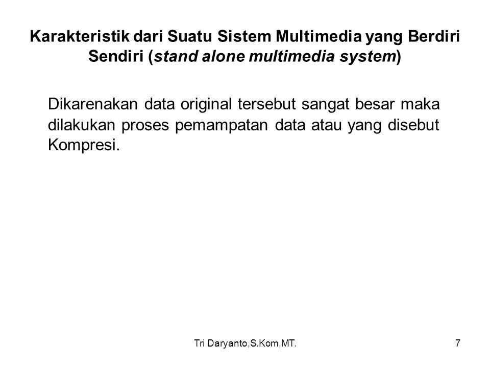 Karakteristik dari Suatu Sistem Multimedia yang Berdiri Sendiri (stand alone multimedia system)