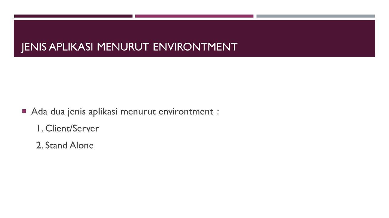 Jenis Aplikasi menurut environtment