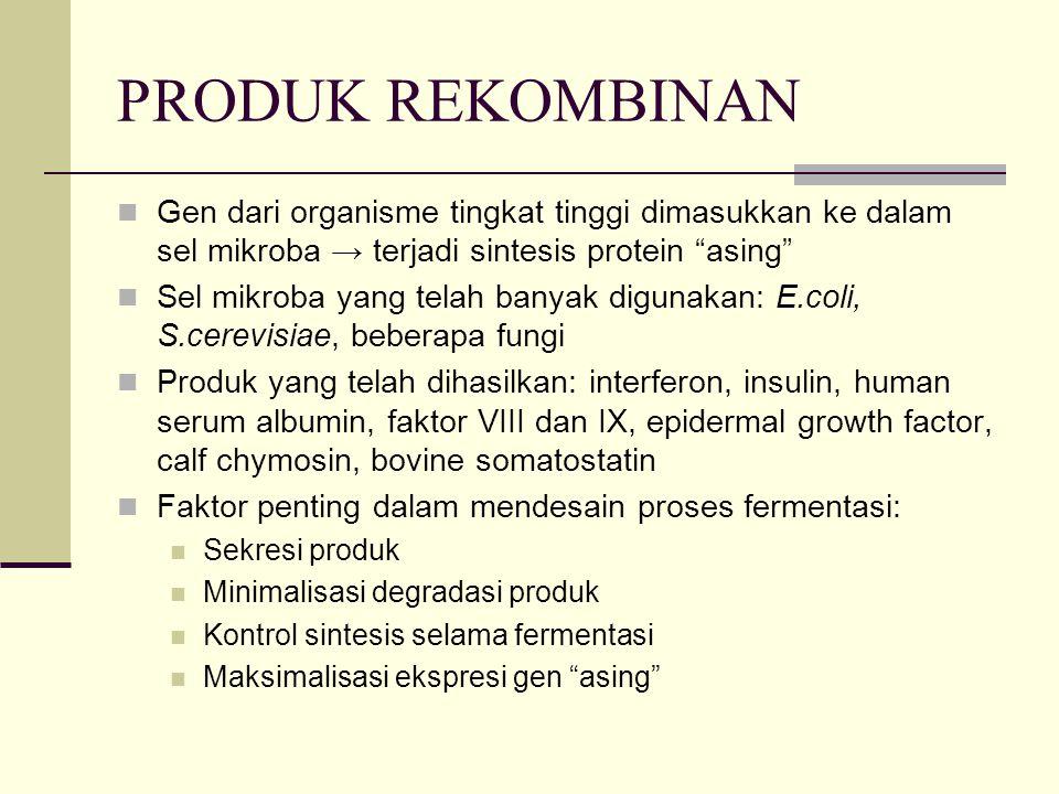 PRODUK REKOMBINAN Gen dari organisme tingkat tinggi dimasukkan ke dalam sel mikroba → terjadi sintesis protein asing