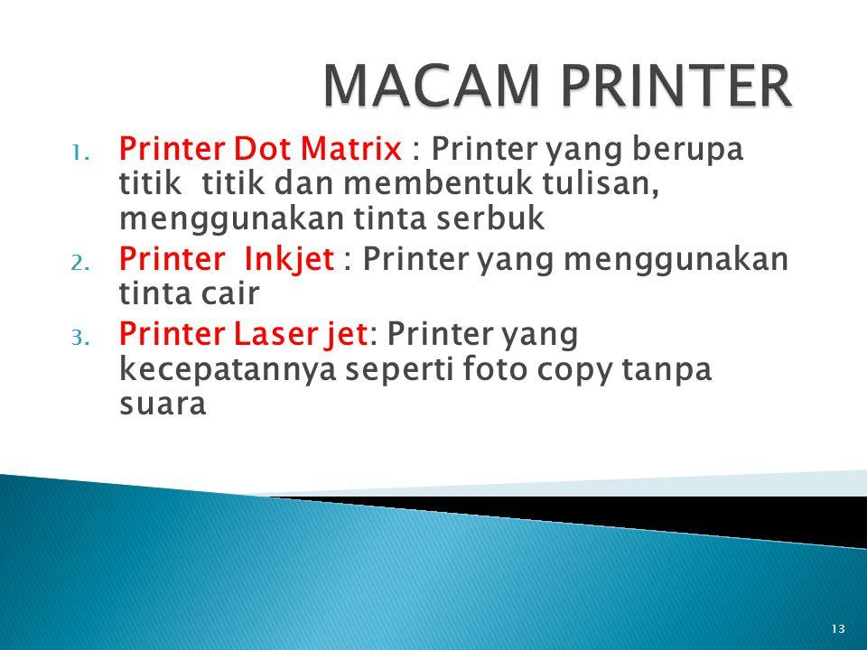 MACAM PRINTER Printer Dot Matrix : Printer yang berupa titik titik dan membentuk tulisan, menggunakan tinta serbuk.