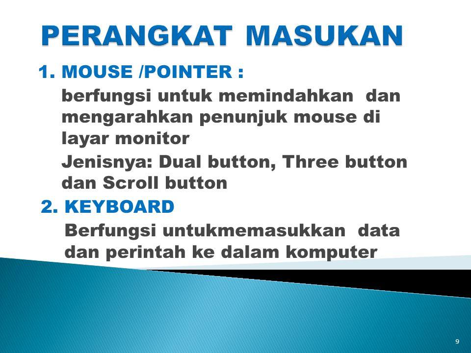 PERANGKAT MASUKAN 1. MOUSE /POINTER :