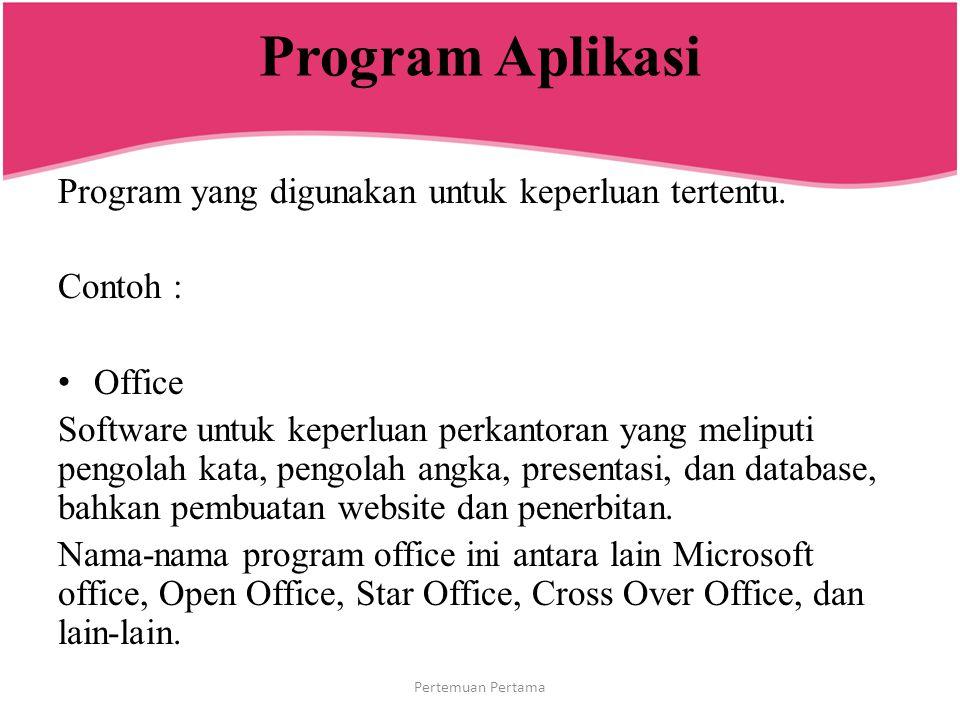 Program Aplikasi Program yang digunakan untuk keperluan tertentu.