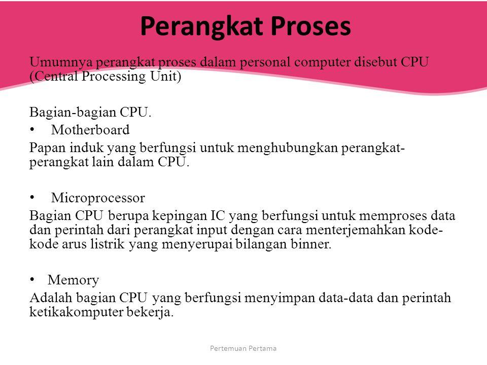 Perangkat Proses Umumnya perangkat proses dalam personal computer disebut CPU (Central Processing Unit)