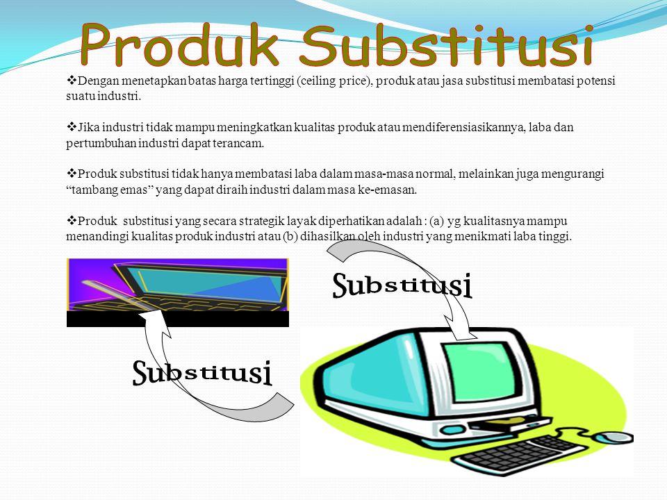 Produk Substitusi Dengan menetapkan batas harga tertinggi (ceiling price), produk atau jasa substitusi membatasi potensi suatu industri.