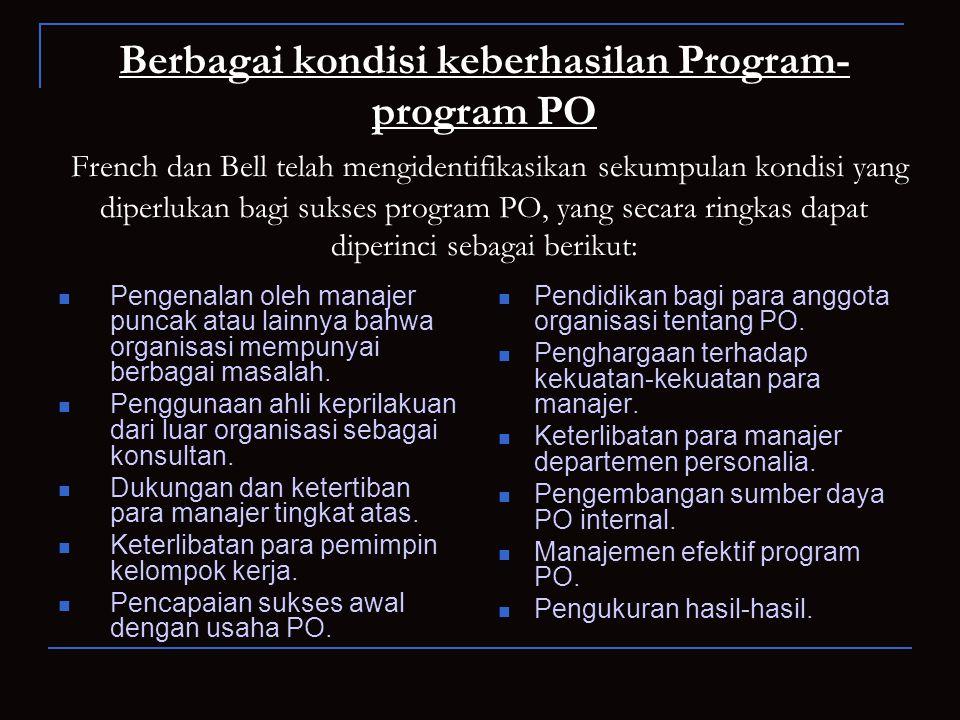Berbagai kondisi keberhasilan Program-program PO French dan Bell telah mengidentifikasikan sekumpulan kondisi yang diperlukan bagi sukses program PO, yang secara ringkas dapat diperinci sebagai berikut: