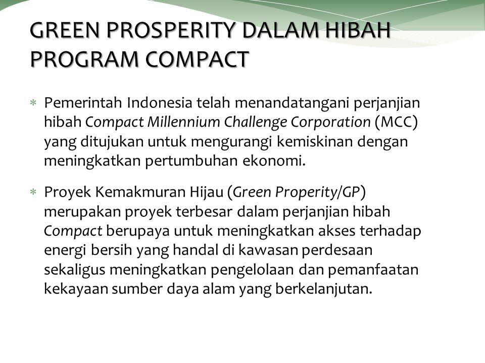 GREEN PROSPERITY DALAM HIBAH PROGRAM COMPACT
