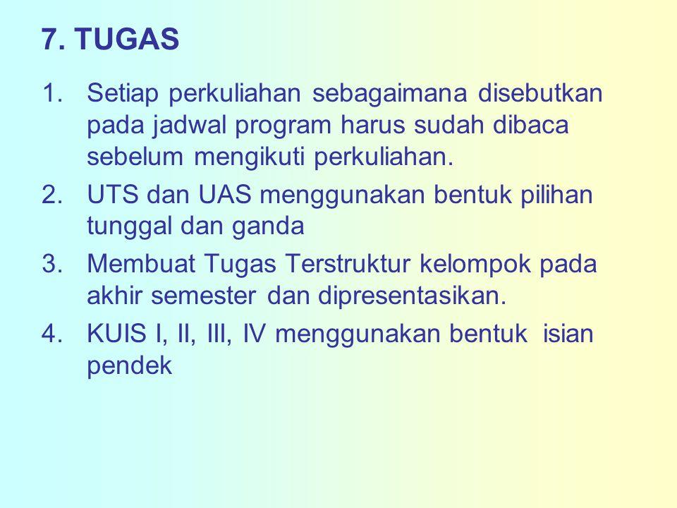 7. TUGAS Setiap perkuliahan sebagaimana disebutkan pada jadwal program harus sudah dibaca sebelum mengikuti perkuliahan.