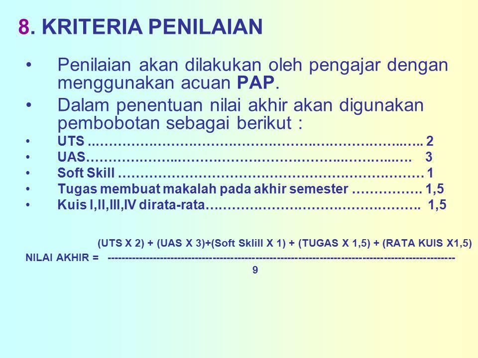 8. KRITERIA PENILAIAN Penilaian akan dilakukan oleh pengajar dengan menggunakan acuan PAP.